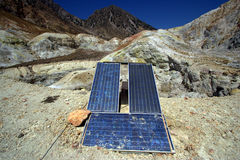 Solar panel and mountains Royalty Free Stock Images