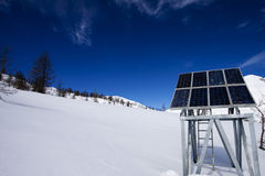 Solar panel in the mountains Stock Photos
