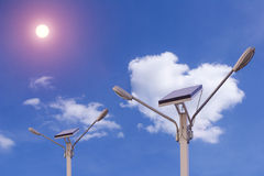 Solar panel nature electricity Energy blue cloud. Stock Photo