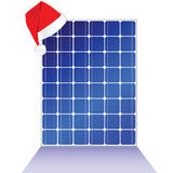 Solar panel with new year hat vector illustration Stock Images