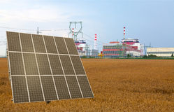 Solar panel before the nuclear power plant Temelin, Czech Republic Stock Image