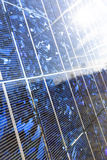 Solar panel, original sun flare Stock Photo