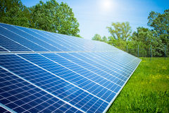 Solar panel. In outdoor solar power plant Stock Photography