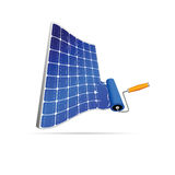 Solar panel with paint roller illustration Stock Photo