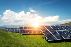 Solar panel, photovoltaic, alternative electricity source - concept of sustainable resources royalty free stock image
