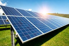 Solar panels, photovoltaics, alternative electricity source. Concept of sustainable resources royalty free stock photo
