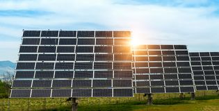 Solar panel, photovoltaic, alternative electricity source stock image