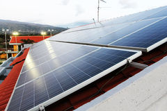 solar panel plant on a roof Royalty Free Stock Images