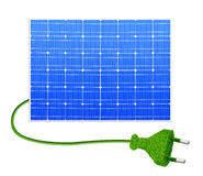 Solar panel with plug. Isolated on white Stock Photos