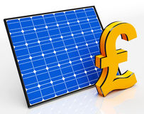 Solar Panel And Pound Sign Shows Saving Money Stock Images