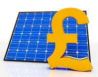 Solar Panel And Pound Sign Shows Saving Power Royalty Free Stock Photo