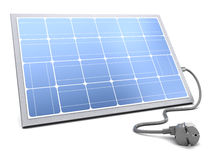 Solar panel with power cable Stock Photos