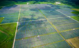 Solar Panel Power Plant Aerial Drone view WebberVille , Texas , USA. Right outside Austin , Texas a central texas power plant renewable energy giant Stock Photos