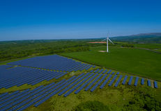 Solar Panel Power Plant Aerial. In rural england Royalty Free Stock Photo