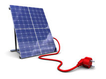 Solar panel with power plug Stock Photos