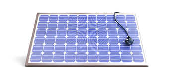 Solar panel power plug. On a white background Royalty Free Stock Photo