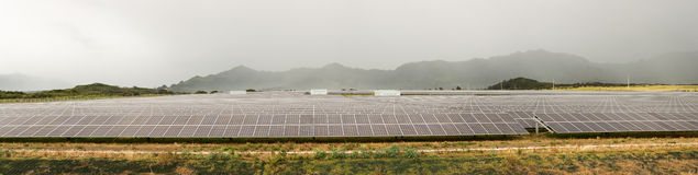 Solar panel power station on cloudy day Royalty Free Stock Photo