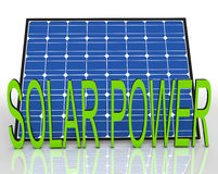 Solar Panel And Power Word Shows Energies Source. Solar Panel And Power Word Showing Energies Source Royalty Free Stock Photos