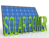 Solar Panel And Power Word Shows Sustainable Energies. Solar Panel And Power Word Showing Sustainable Energies Royalty Free Stock Photo