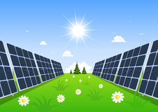 Solar panel produces green energy from the sun. Stock Photo