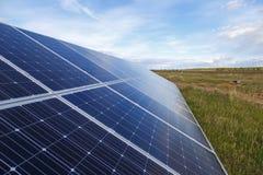 Solar panel produces green, environmentally friendly energy Stock Photos