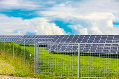 Solar panel produces green, environmentally friendly energy from the sun. Stock Photography