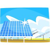 Solar panel, production of energy from the sun, ecological energy producing station, renewable resources horizontal. Vector illustration on a white background Royalty Free Stock Image