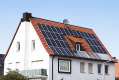 Solar panel. On a red roof Royalty Free Stock Photo