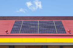 Solar panel on a red roof Royalty Free Stock Photography