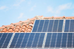 Solar Panel On A Red Roof Stock Images