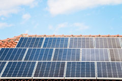 Solar Panel On A Red Roof Stock Photography