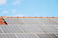 Solar Panel On A Red Roof Royalty Free Stock Images