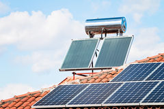 Solar Panel On A Red Roof Royalty Free Stock Photo