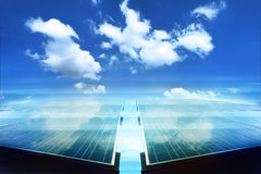 Solar panel with reflect white cloud Royalty Free Stock Photo