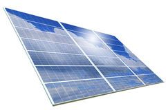 Solar Panel with reflection of blue sky isolated Royalty Free Stock Photography