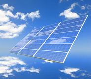 Solar Panel with reflection of blue sky and white Stock Photos