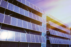 Solar panel and renewable energy. Against blue sky Royalty Free Stock Photo