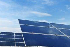 Solar panel renewable energy field. Solar panel renewable eco  energy field Royalty Free Stock Photography