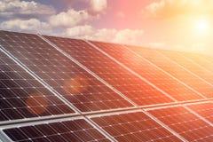 Solar panel and renewable energy. Power plant using renewable solar energy with sun stock photography