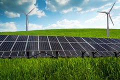 Solar panel and renewable energy. Power plant using renewable solar energy with sun Stock Image