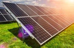 Solar panel and renewable energy. Power plant using renewable solar energy with sun Royalty Free Stock Photo