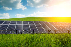 Solar panel and renewable energy. Power plant using renewable solar energy with sun Royalty Free Stock Photography