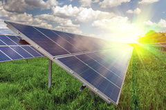 Solar panel and renewable energy. Power plant using renewable solar energy with sun Stock Photo