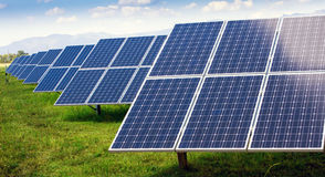 Solar panel and renewable energy. Power plant using renewable solar energy with sun Royalty Free Stock Images
