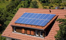 Solar panel on a roof. Energy,Solar panel on a roof Stock Image