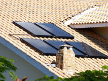 Solar panel on the roof. For water heating royalty free stock photo