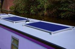 Solar panel on roof of canal boat. Close up image of solar panel on boat roof Royalty Free Stock Photography