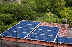 Solar Panel on the Roof in Eco-Village  Torri,italy Royalty Free Stock Photos