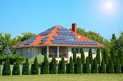 Solar panel on the roof Royalty Free Stock Image