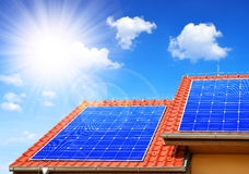Solar panel on the roof of the house Stock Photo